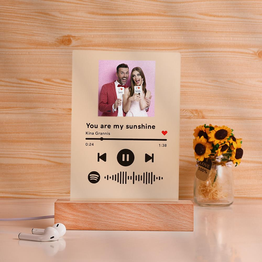 Spotify Glass - Personalized Spotify Code Music Plaque Night Light(5.9in x 7.7in)
