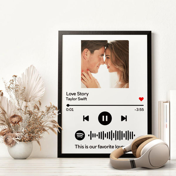 Custom Spotify Code Music Wood Frame Painting With Text-White