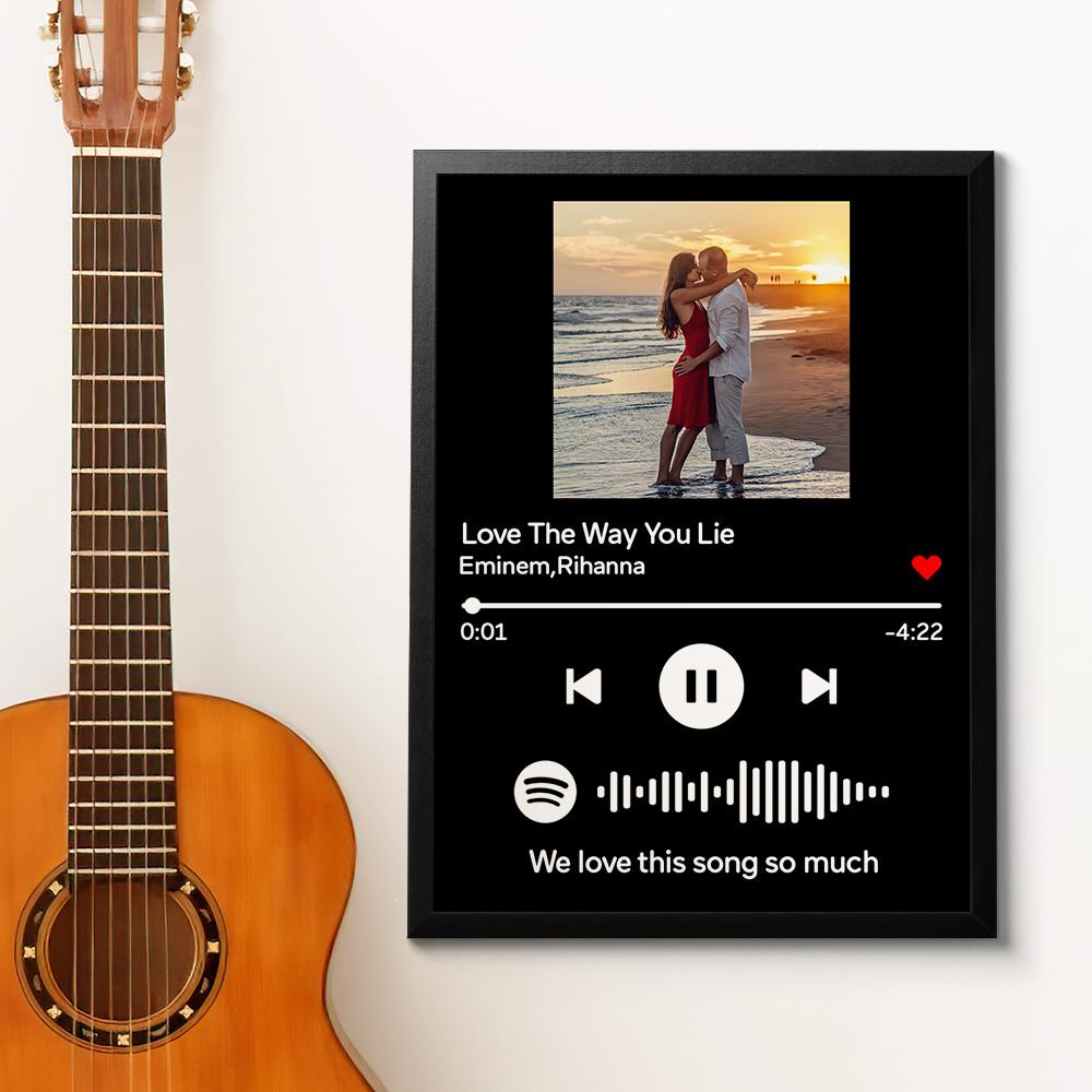 Custom Spotify Code Music Wood Frame Painting With Text-Black