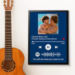 Custom Spotify Code Music Wood Frame Painting With Text-Blue