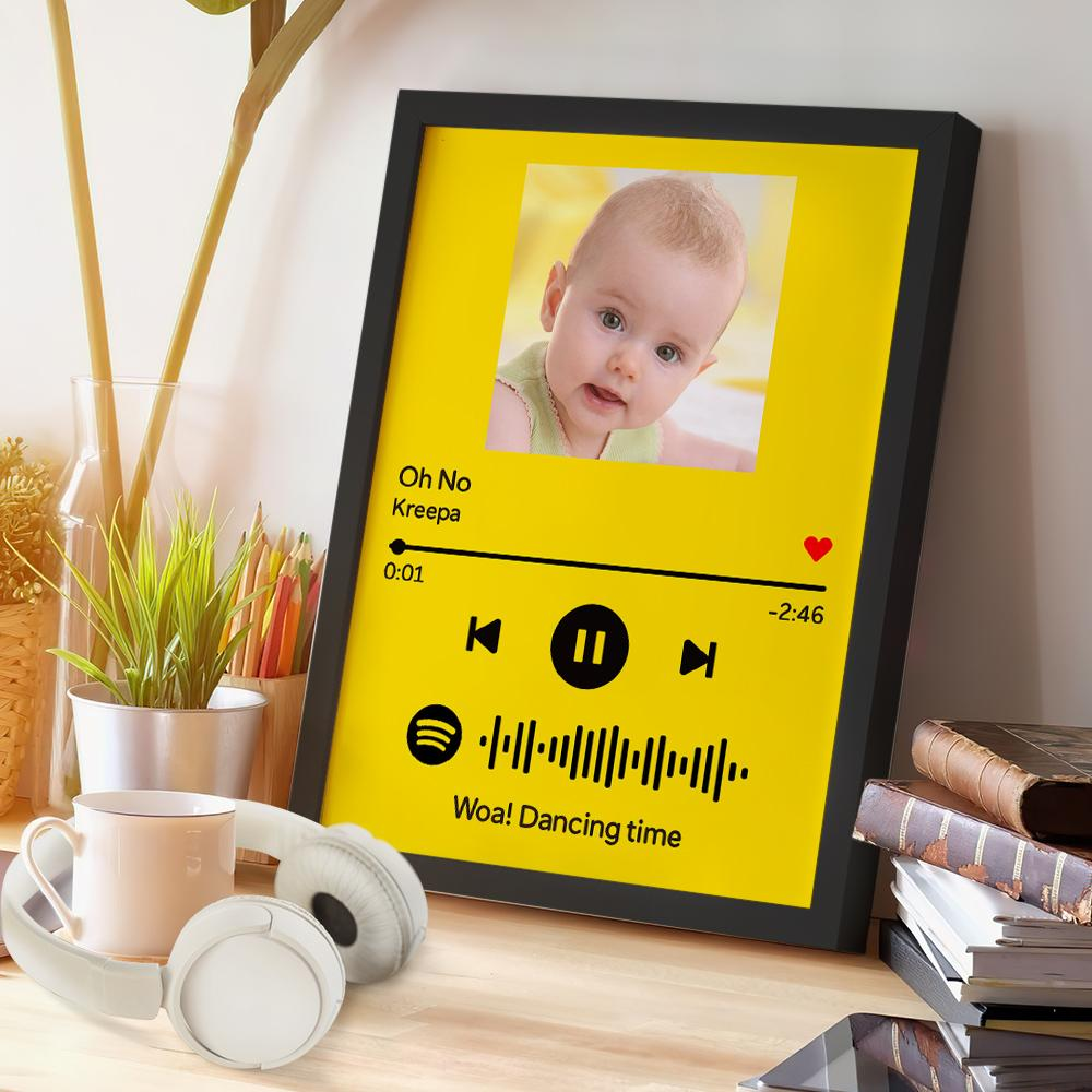 Custom Spotify Code Music Wood Frame Painting With Text-Yellow