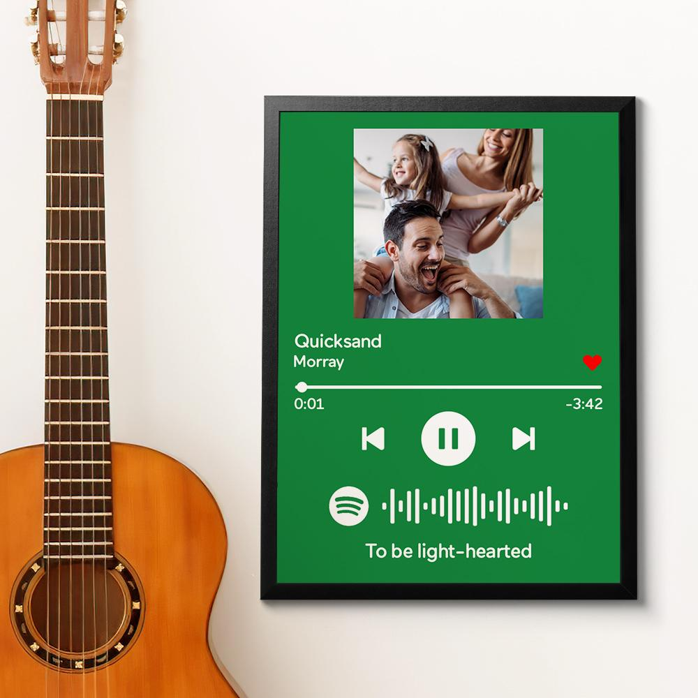 Custom Spotify Code Music Wood Frame Painting With Text-Green