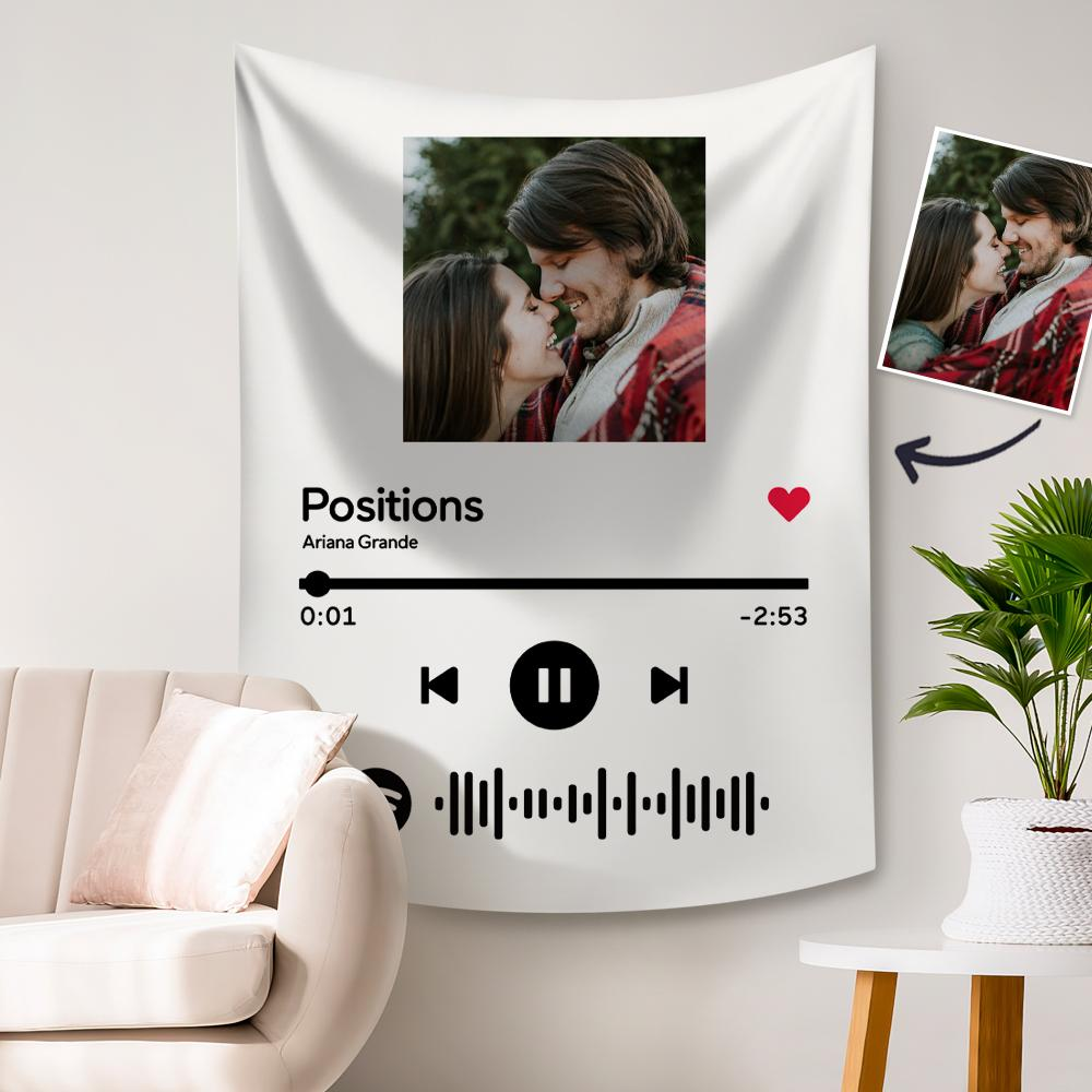 Custom Photo Tapestry Spotify Music Code Tapestry White