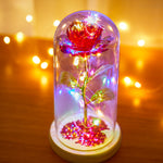 Red Rose In Glass Dome with Led lights