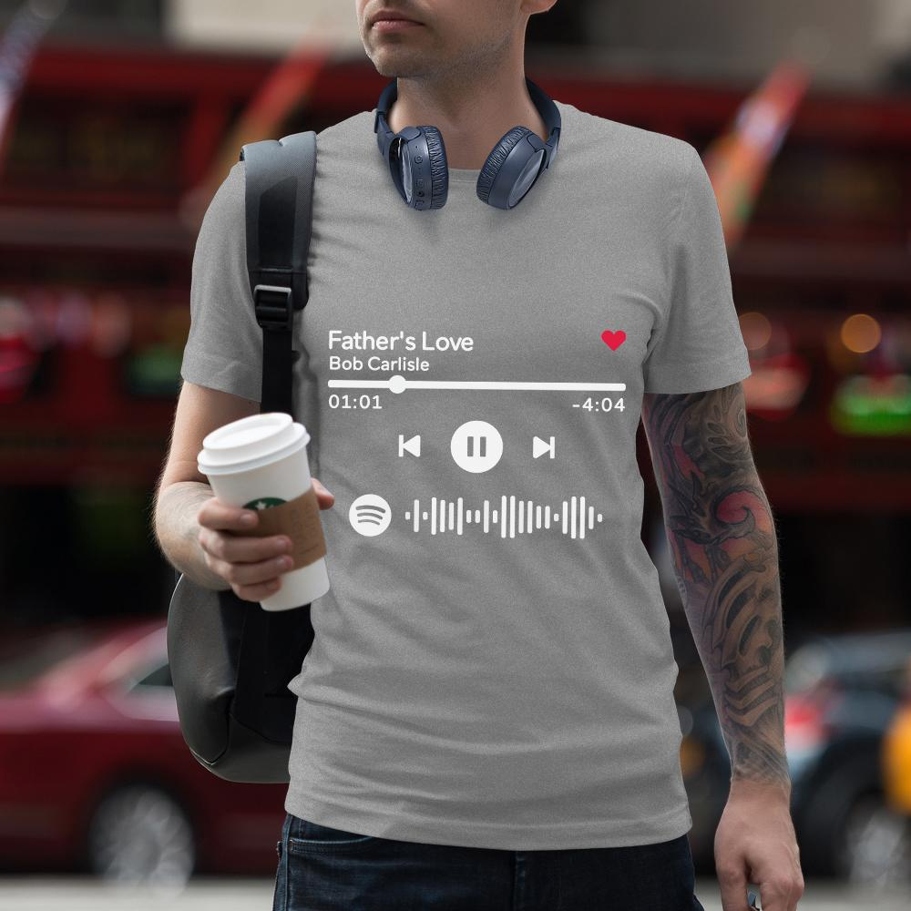 Custom Scannable Spotify Code T-shirt Engraved T-shirt Unique Gift Unisex