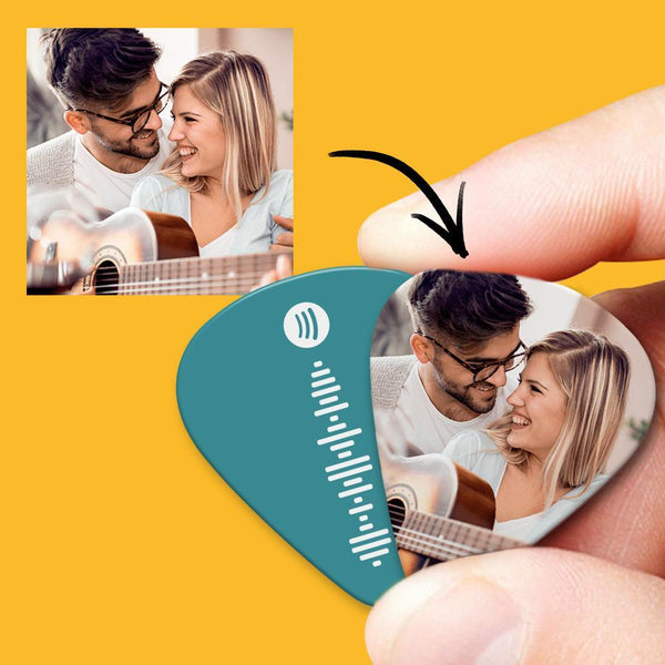 Spotify Music Code Guitar Pick 12Pcs With Photo - Green