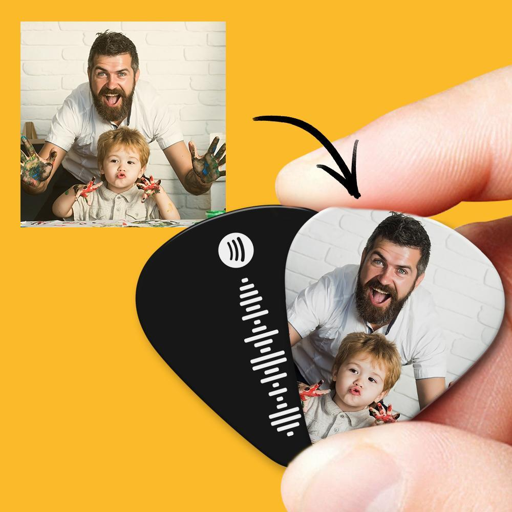 Spotify Music Code Guitar Pick 12Pcs With Photo - Black