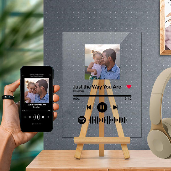 Spotify Glass - Custom Spotify Code Music Plaque With Wooden Stand