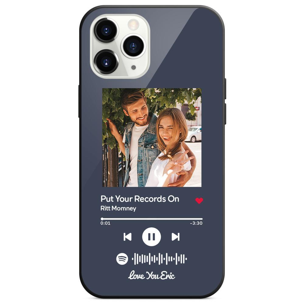 Custom Spotify Code Music iphone Case With Text - Dark Blue