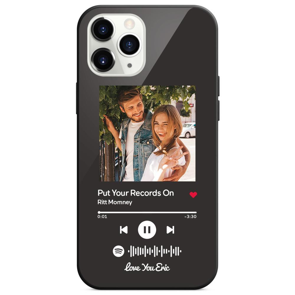Custom Spotify Code Music iphone Case With Text - Black