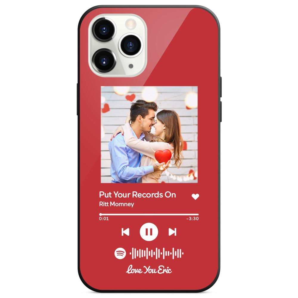 Custom Spotify Code Music iphone Case With Text - Red