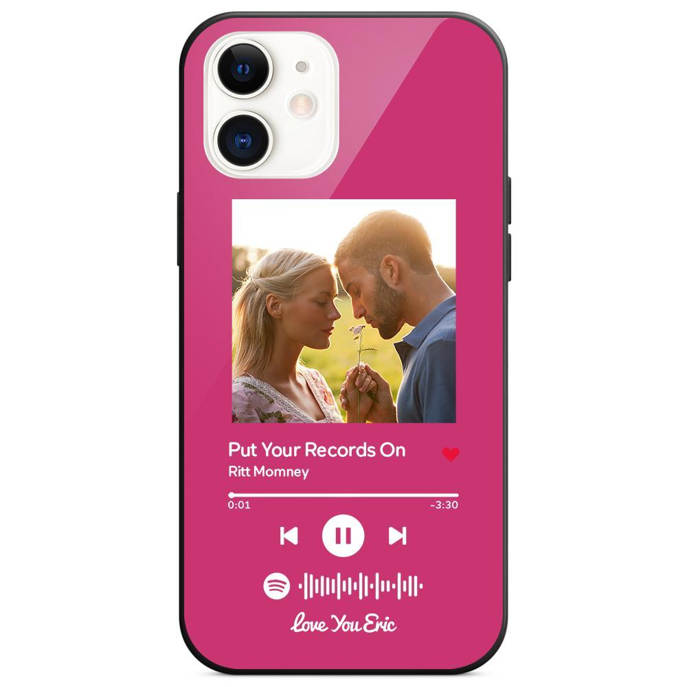 Custom Spotify Code Music iphone Case With Text - Pink