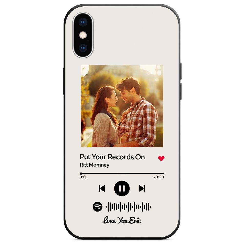 Custom Spotify Code Music iphone Case With Text - White