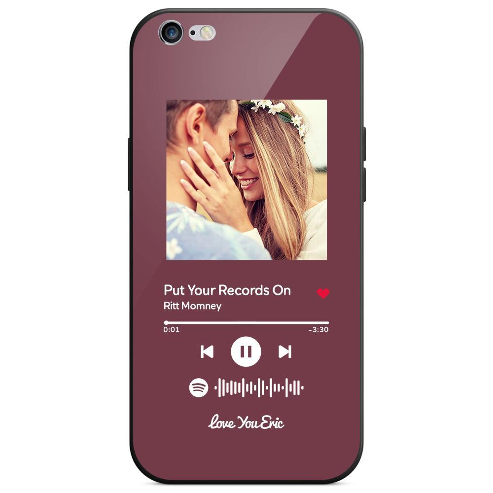 Custom Spotify Code Music iphone Case With Text - Purple
