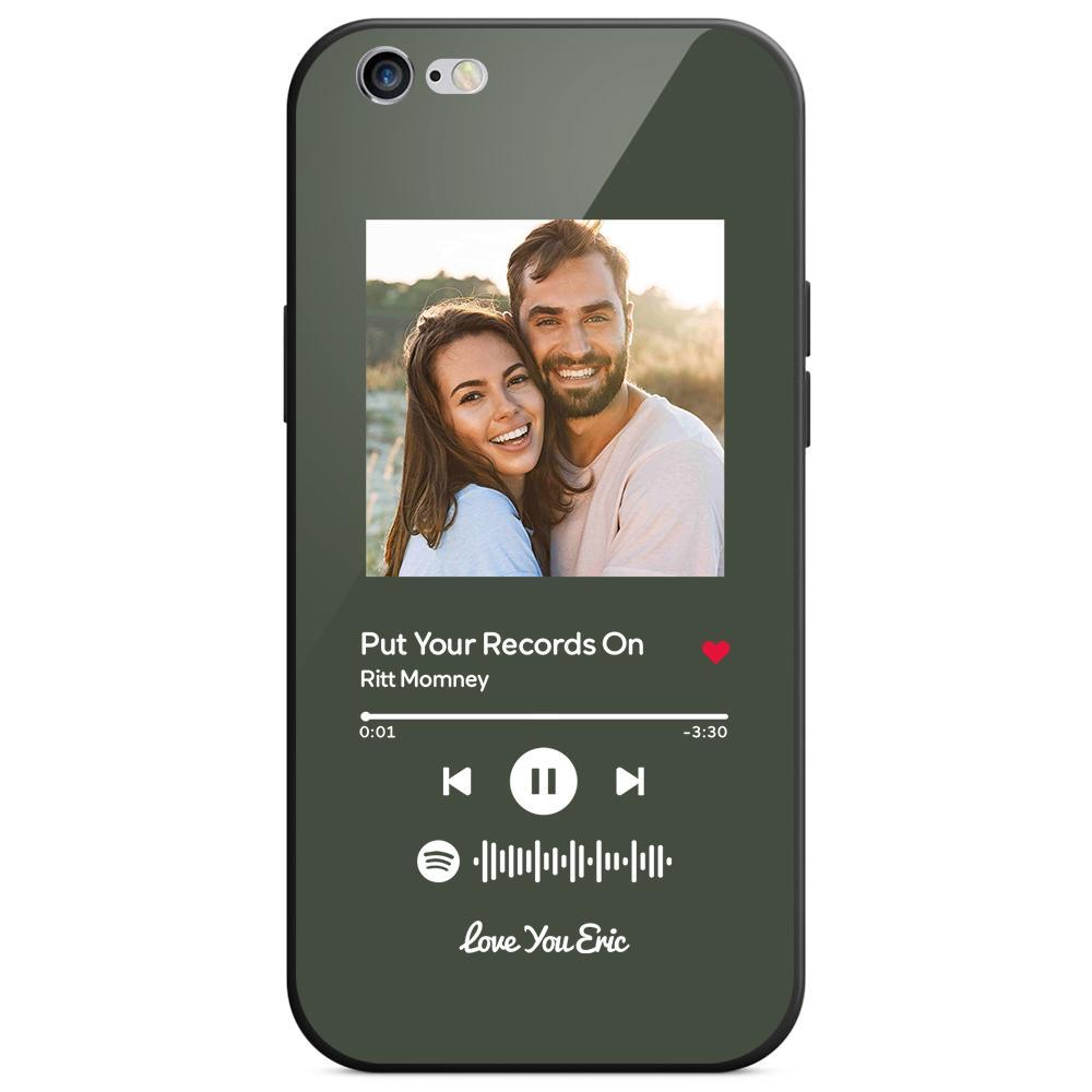 Custom Spotify Code Music iphone Case With Text - Dark Green