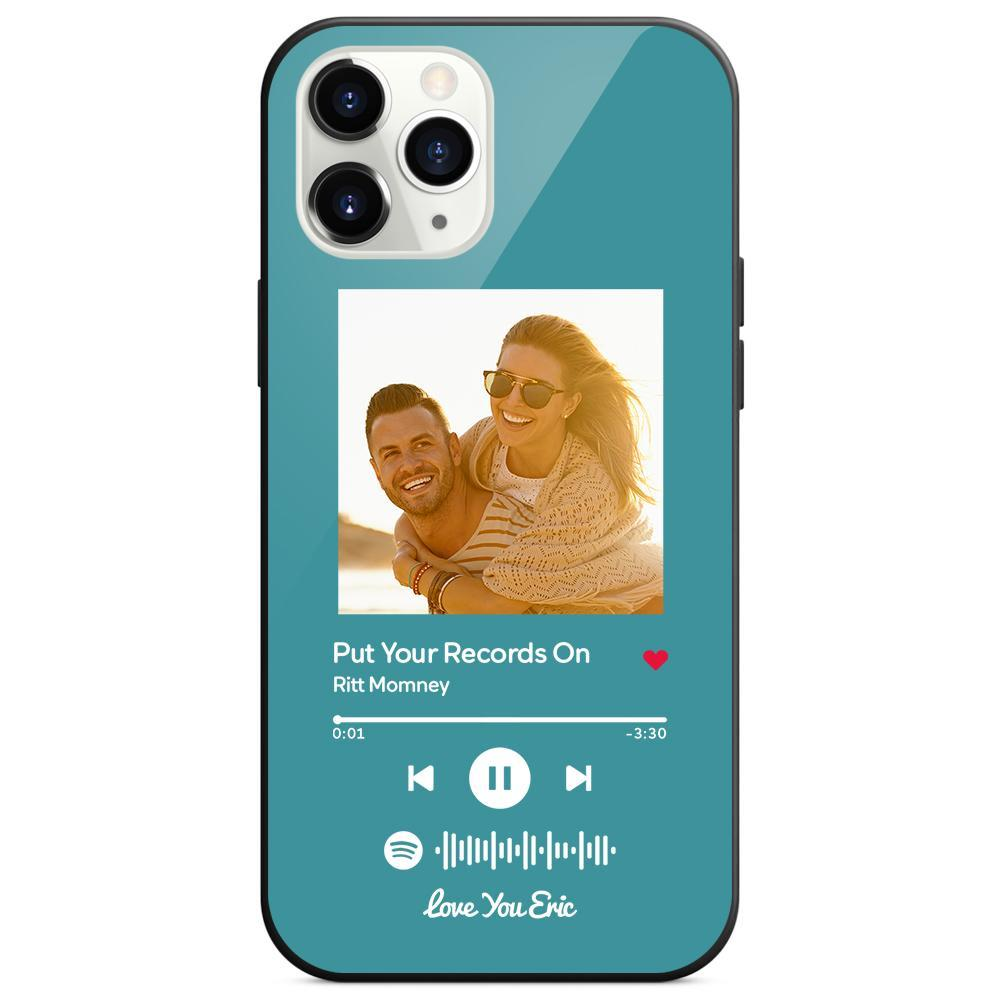 Custom Spotify Code Music iphone Case With Text - Light Blue