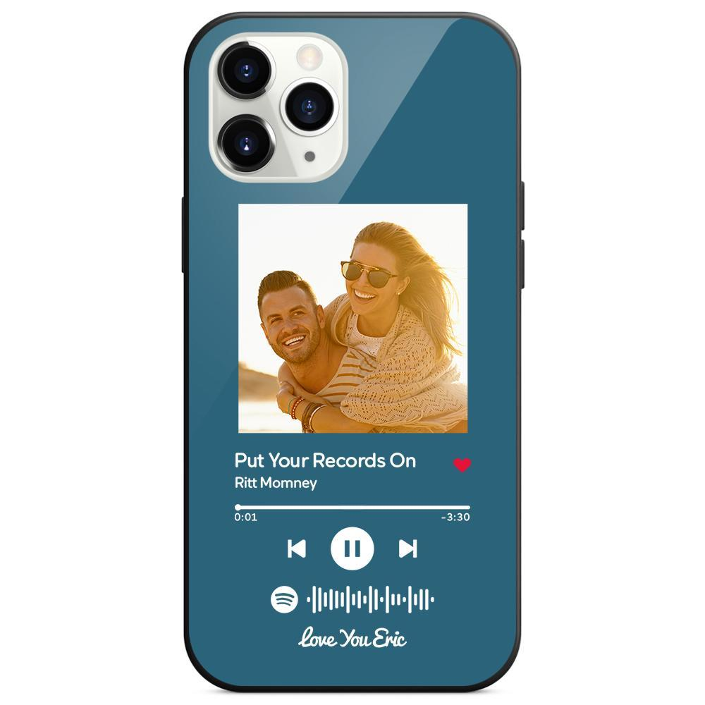 Custom Spotify Code Music iphone Case With Text - Blue