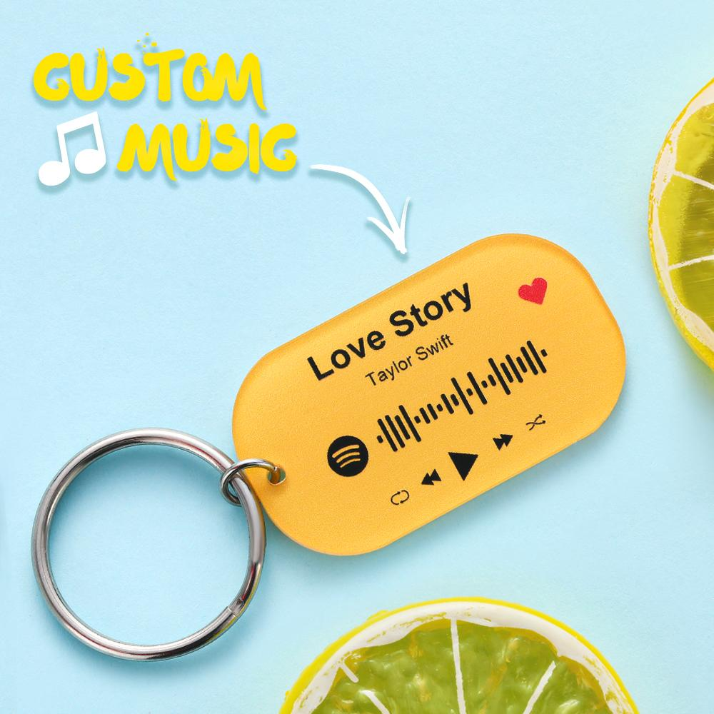 Custom Spotify Code Song Colorful Keychain-Green Keyring