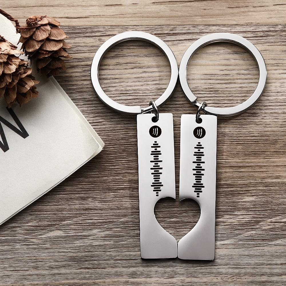 Scannable Custom Spotify Code Keyring 2pcs a Set Valentine's Day Gifts