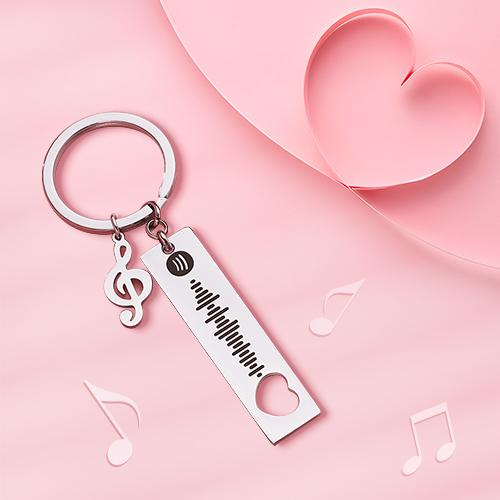 Custom Spotify Code Scannable Music Keychain with Note Silver