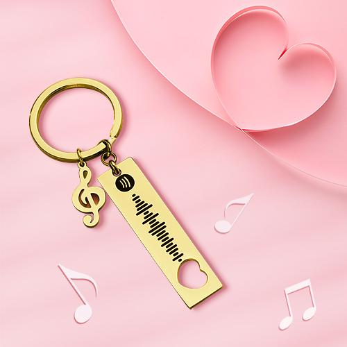 Custom Spotify Code Scannable Music Keychain with Note Black