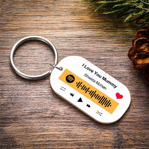 Custom Engraved Music Song Spotify Code Keyring Gifts Multiple Colour-Purple