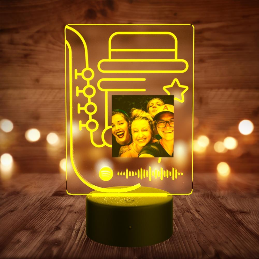 Custom Spotify Night Light with 7 Colors Personalized Night Light with Remote Control Note