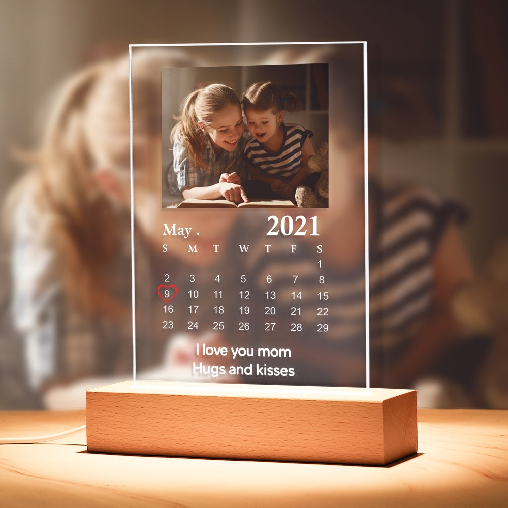Custom Calendar Night Light With Your Photo (5.9in x 7.7in)