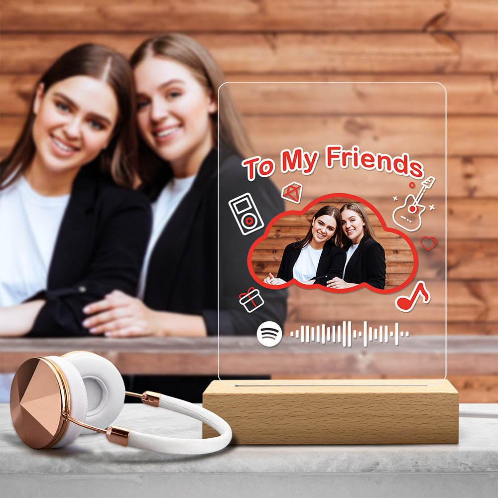 Custom Spotify Code Acrylic Music Night Light Cloud Shaped Couple Confession Gift