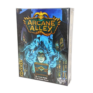 Arcane Alley box front: 45 minutes playtime, ages 10+, 2-6 players
