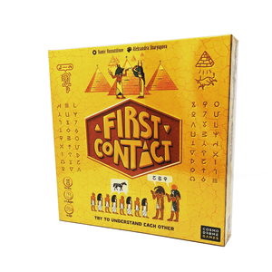 First Contact box front: Try to Understand Each Other. Lettering and imagery which suggest ancient Egypt and also somehow aliens