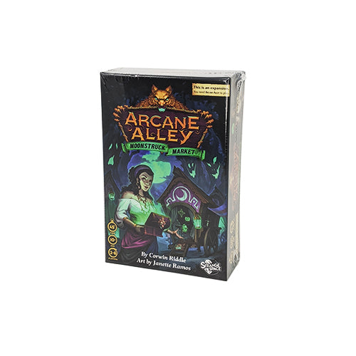 Moonstruck Market box front: This is an expansion. You need Arcane Alley to play. 45 minute playtime, ages 10+, 2-6 players