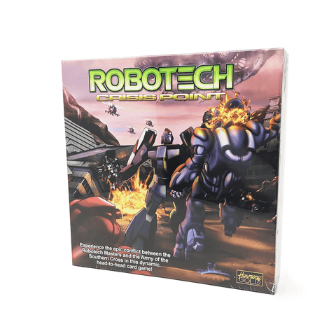 Robotech Crisis Point box front: A robot punching another robot so hard its head explodes. All around it are other robots and vehicles fighting in the ruins of a city