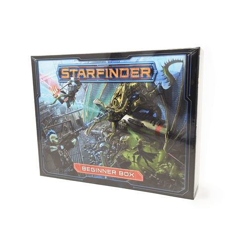 Starfinder Beginner Box front: 3 futuristic warriors weilding a variety of weapons and magic are fighting a robotic dinosaur that is shooting lightning from its mouth