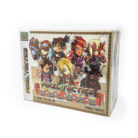 Pixel Tactics Deluxe box front: 7 different adventurers with a variety of weapons and magic
