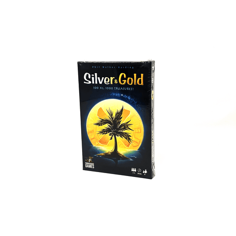 Silver & Gold box front: a palm tree silhouetted against the moon