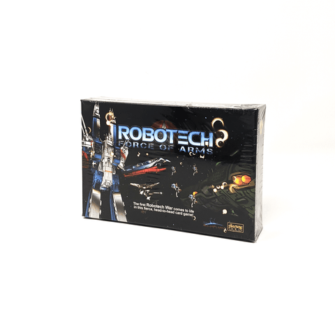 Robotech Force of Arms box front: a giant blue white and red robot in space fighting against a gray and green space ship. There are numerous smaller robots flying around