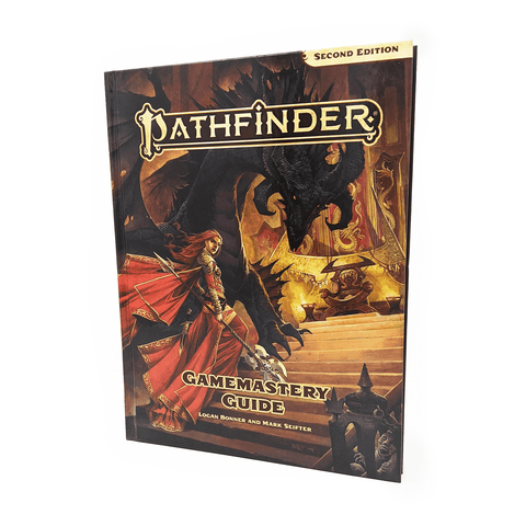 Pathfinder Second Edition Gamemastery Guide book cover: A woman dressed in red and weilding a spear-like weapon is standing in front of a dragon. They are both climbing a set of stairs