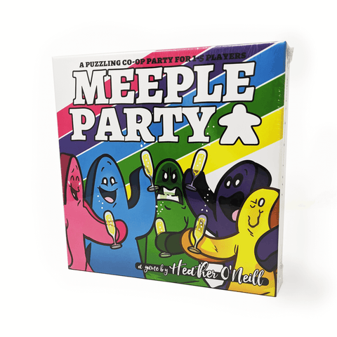Meeple Party box front: a puzzling co-op party for one to five players: five meeples, each with very different colors and facial expression, share flutes of champagne