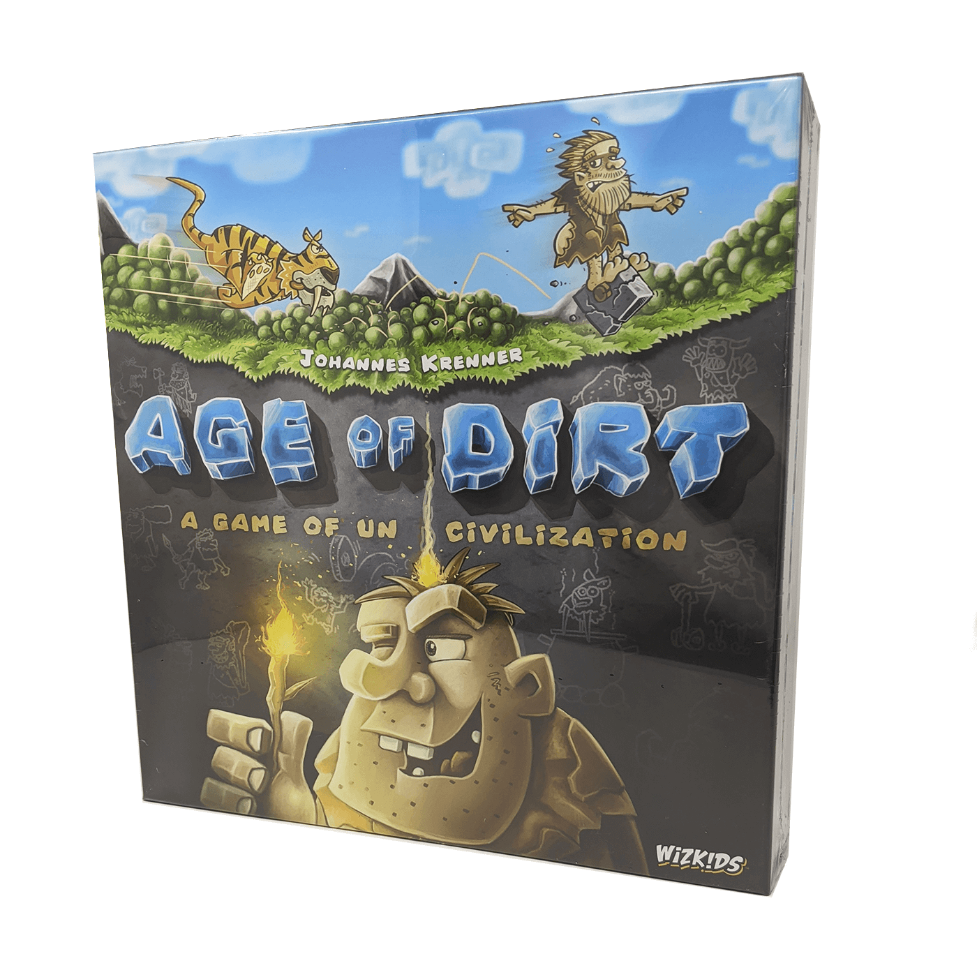 Age of Dirt: A game of un-civilization box front: one caveman runs from a tiger while another lights his hair on fire