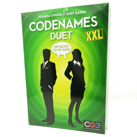 Codenames Duet XXL box front: suited silhouettes say top-secret co-op game