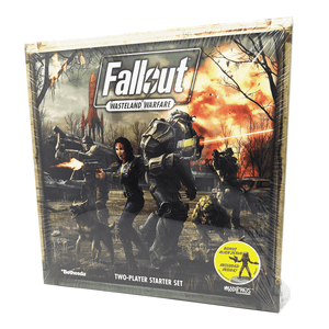 Fallout:Wasteland Warfare box front: characters yelling and shooting with mutated dog and a large explosion in the background