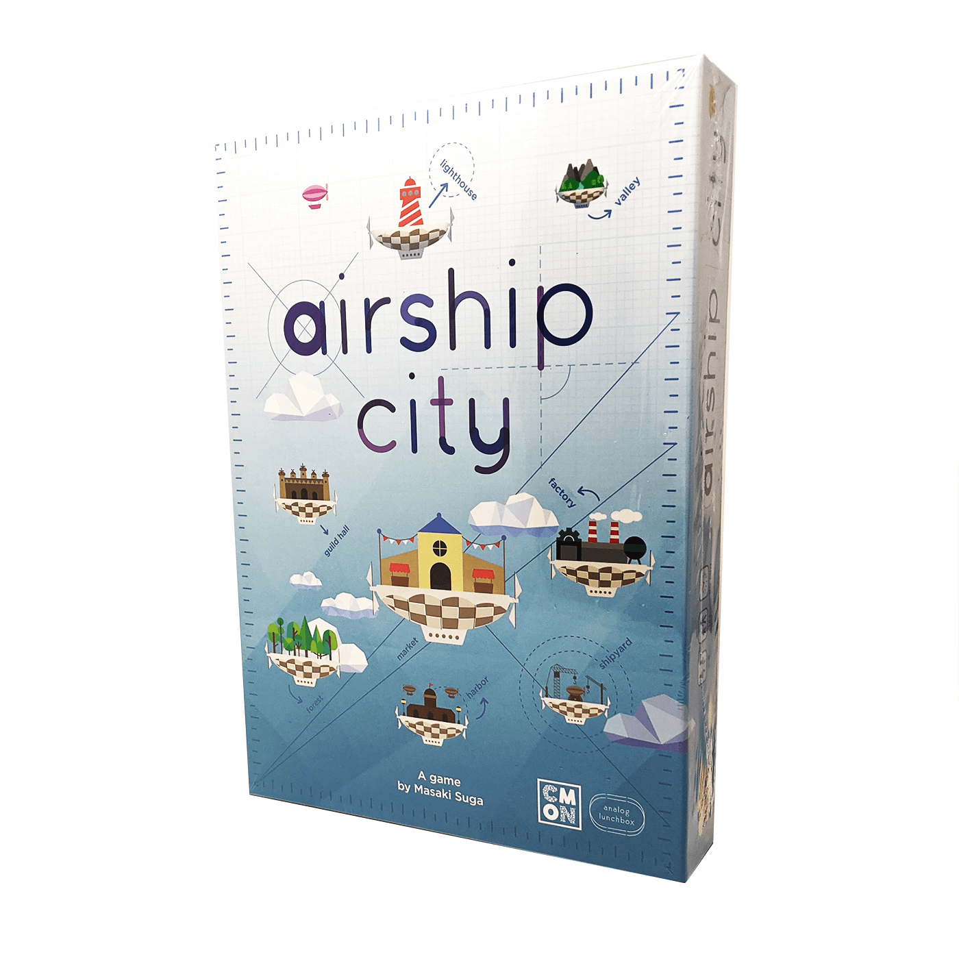 Airship City box front: bright, round floating buildings against a soft blue and white background
