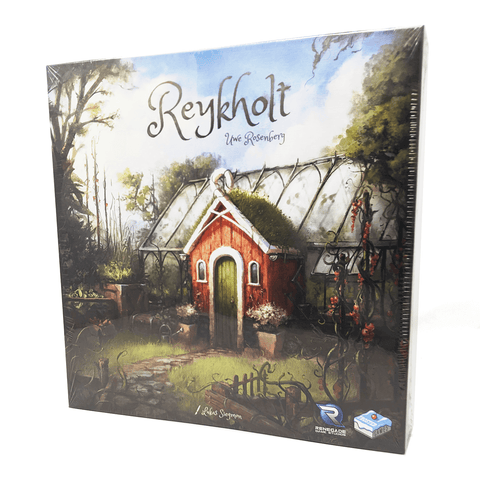 Reykhold box front: a small country greenhouse in the middle of a forest. The greenhouse has a red shed attached with moss growing on the roof and a stone path leading up to it. There are a variety of plants growing all around