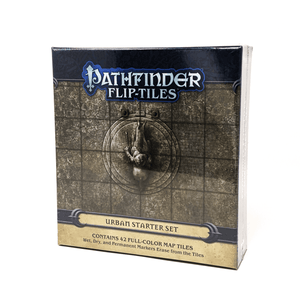 Pathfinder Flip Tiles Urban StarterSet box front: a top-down stone statue of a person on a horse in the middle of a plaza. There is a square grid over the plaza
