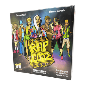 Rap Godz box front: a diverse group of rappers posing in a row. The Rap Godz logo looks like a pair of brass knuckles