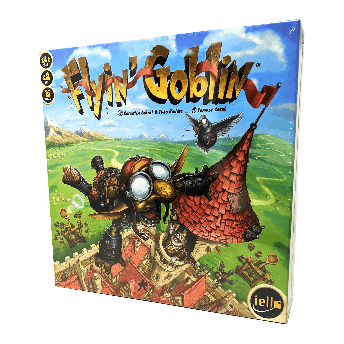 Flyin' Goblin box front: goblins with large ears, noses, and flight goggles flap around a castle tower