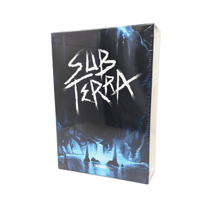 Sub Terra box front: the dark interion of a cave. There is a pool of water at the bottom that is glowing with blue light