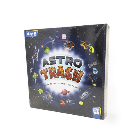 Astro Trash: A Race to Declutter Your Planet box front: bits of cartoonish trash orbit in a circle around the title
