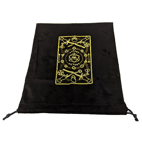 Black velvet drawstring bag with gold tarot card design